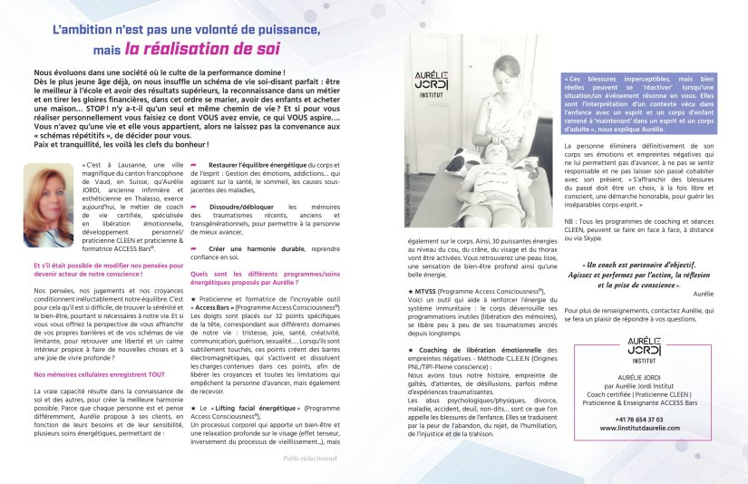 Aurelie Jordi | coach lausanne | access bars | methode cleen